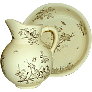 """Antique Italy Catholic Church Baptism 11"""" Pitcher & 15"""" Ceramic Basin Birds Insects Leafy Branches"""