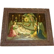 Antique Wood Framed Lithograph Jesus & Angels Symbolic Post Crucifixion