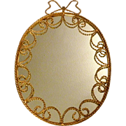 "Hollywood Regency 27"" Oval Wall Mirror w Gilt Twist Wrought Iron Frame Made In Italy"