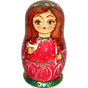Vintage de Brekht Russian Christmas Red Matryoshka with Ornaments Inside