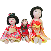 3 Vintage Japanese & Chinese Girl Children Dolls Clay Bisque Paper Glass Eyes