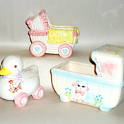 3 Vintage 1950 Ceramic Baby Shower Gifts - Buggy / Bassinet / Duck Bank Planters