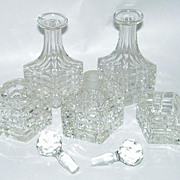 6 Piece Art Deco Beveled Cut Glass Perfume Bottles Vanity Set in Metal Cart