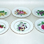 6 Vintage Japan Porcelain Butter Pats with Flowers