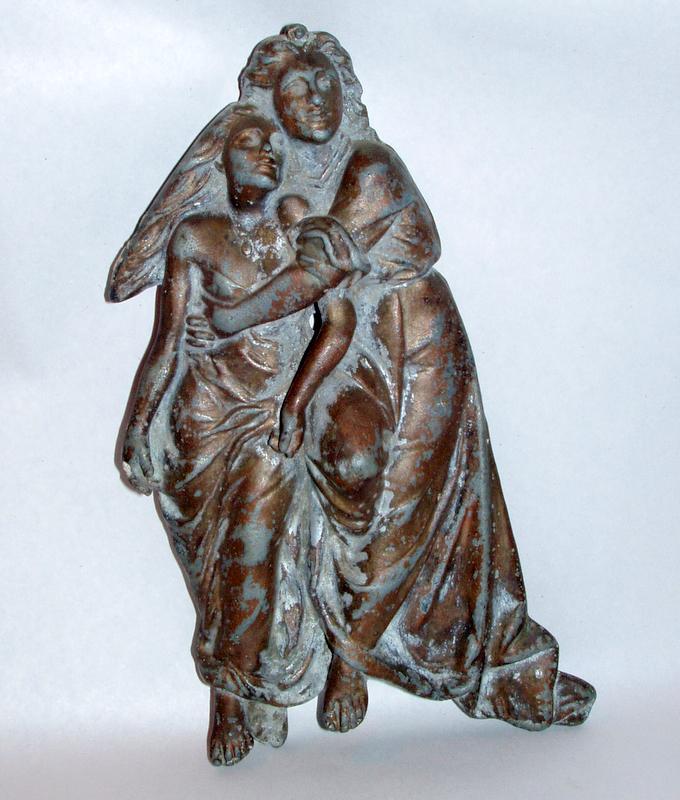 Antique Altar Detail Man Woman Fleeing Wrath Metal Relief Sculpture