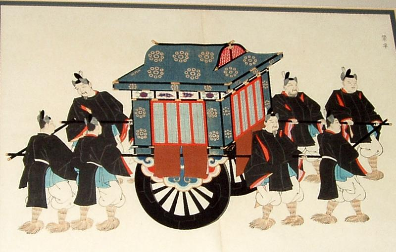 Framed Antique Japanese Woodblock Print Royal Palanquin with Guards