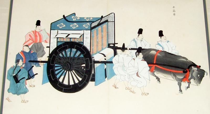 Framed Antique Japan WoodBlock Royal Ox Drawn Palanquin with Guards
