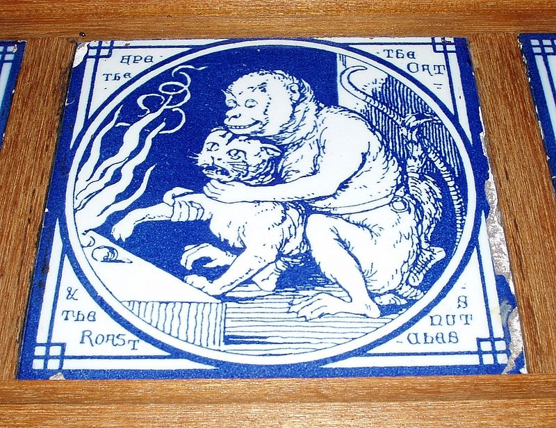 Six Rare 1870's Blue MINTON TILES Wood Framed Aesop's Fables