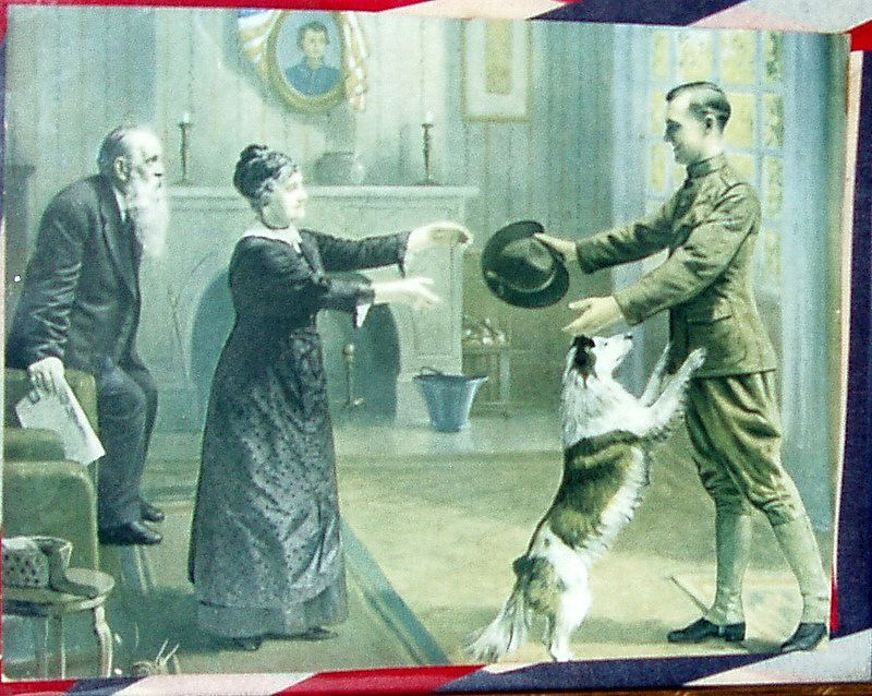 """Original 1914 WWI framed 10"""" Print - Soldier Coming Home to Family"""