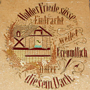 Antique German Victorian Punch Paper Sampler with SCHILLER POEM
