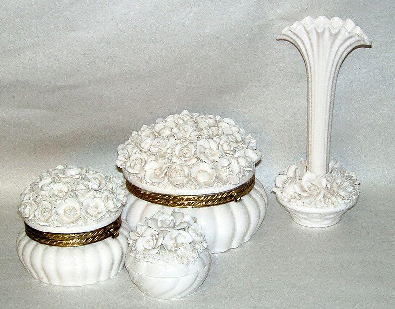 Vintage 1950's Japan White Porcelain Roses 6 pc.Vanity Set Powder Box & Vase