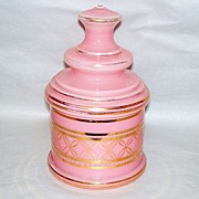 "Beautiful Victorian Era Candy Pink Glass 2 pc. 9"" Covered Vanity Jar"