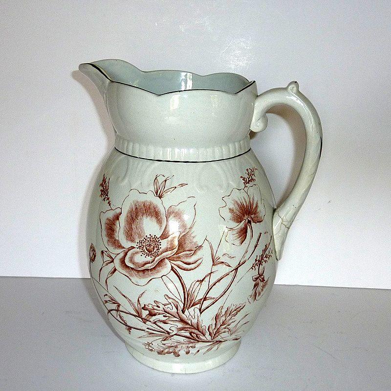 "Antique Bristol England CHAMPION 11"" Pottery Wash Basin Pitcher England"