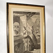 1864 Harper's Weekly CIVIL WAR Engraving Women Hoping for Mail at Post Office