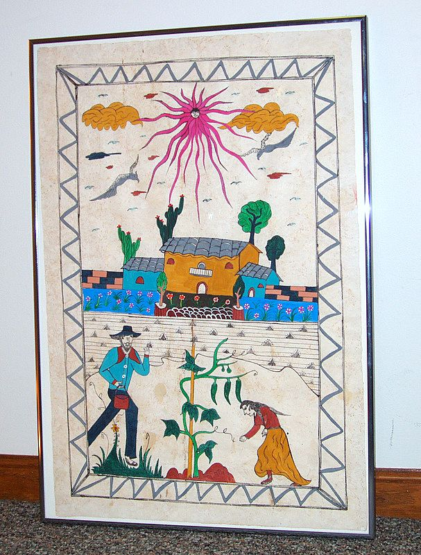 1960's Framed Southwest Naive Painting on Hand Made Paper PEPPER FARMERS