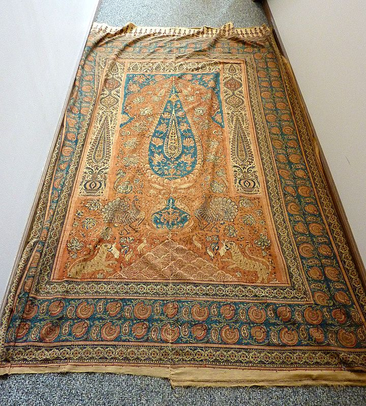 Antique 7.5' Persian Qalam Kar Hand Stamped Hanging Prayer Niche Textile