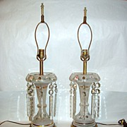 "Vintage Pair 15"" Frosted Glass w Pink Roses Electric 8 Prism Luster Lamps"
