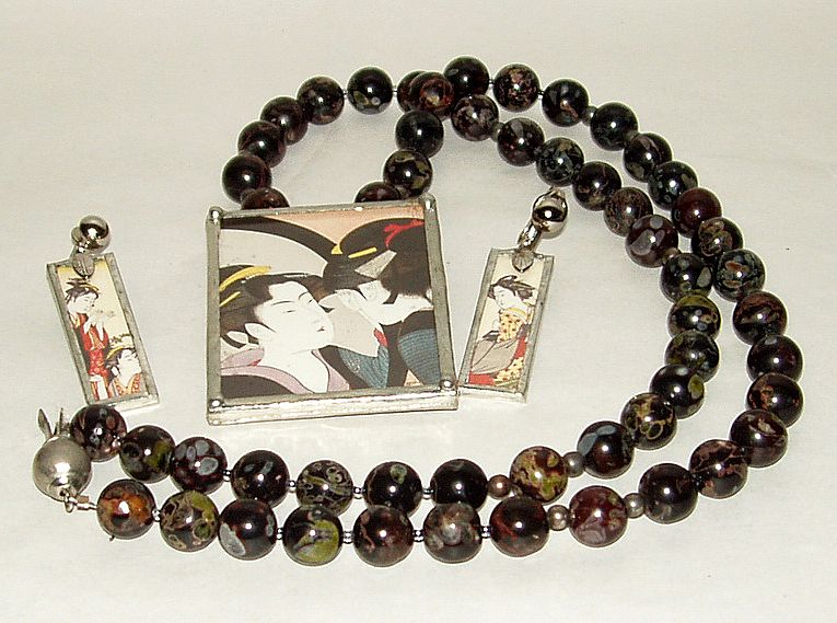 Vintage Japan Geisha Framed Pendant on Jasper Bead Necklace