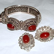 Vintage Italy Ornate 800 Silver Demi Parure with Red Stone Cabochons