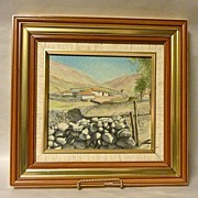 Original 1950's Chalk Drawing Artwork San Rafael de Mucuchies Venezuela