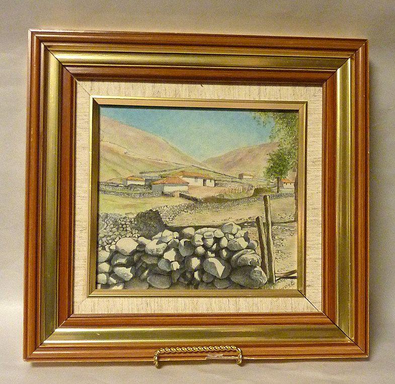 Original 1950's Chalk Drawing Artwork San Rafael de Mucuchies Venezuela