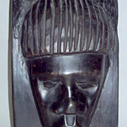 "Vintage 1960's Africa Ebony Wood 11"" Primitive Male Head Sculpture"