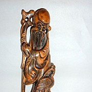 "Vintage Carved Rosewood  Longevity Figure 12"" Shou Lao with Crane"