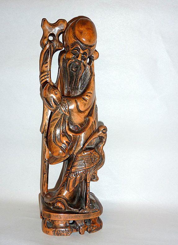 "Vintage Carved Rosewood  Longevity Figure 12"" Shou Lao with Crane"