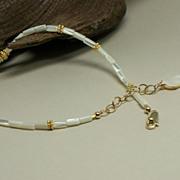 Mother of Pearl (MOP), Vermeil, Adjustable 14k Gold-Fill Anklet