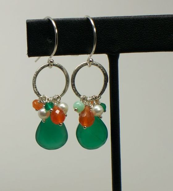 Green Onyx Briolette, Multi Gemstone, Sterling Silver Dangle Earrings