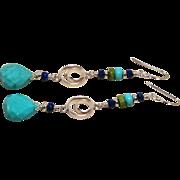 Sleeping Beauty Turquoise, Gaspeite, Lapis Sterling Silver Earrings