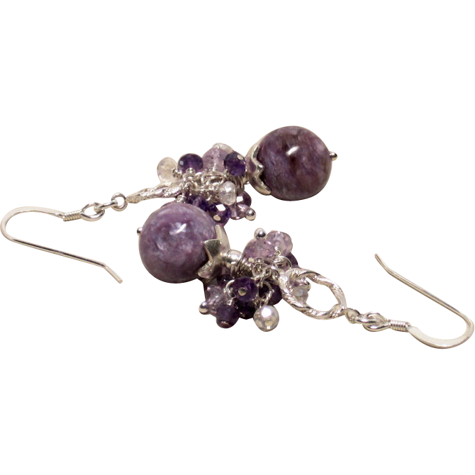 Huge Charoite, Amethyst, Mystic Quartz Sterling Earrings