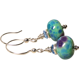 Mint Green and Blue Lampwork Sterling Silver Earrings