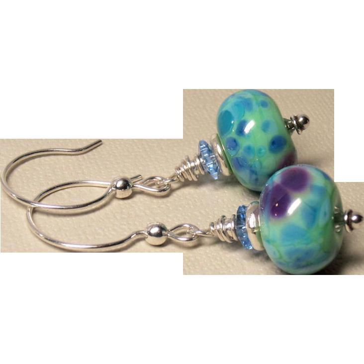 Mint Green and Blue Lampwork Sterling Silver Earrings