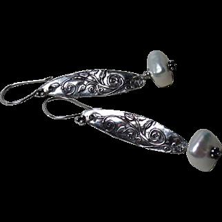 Cultured Freshwater Nugget Pearl Sterling Earrings
