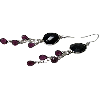 Black Spinel, Rhodolite Garnet Sterling Silver Dangle Earrings