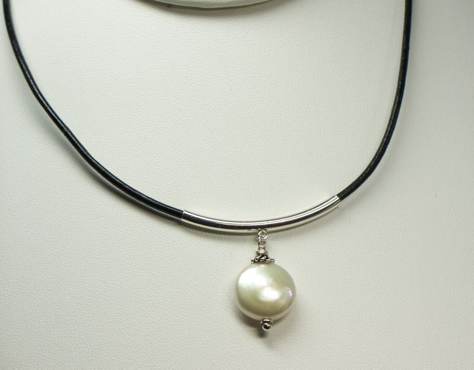 Cultured freshwater pearl pendant with black leather necklace cultured freshwater pearl pendant with black leather necklace all about you artisan designer jewelry ruby lane mozeypictures Gallery
