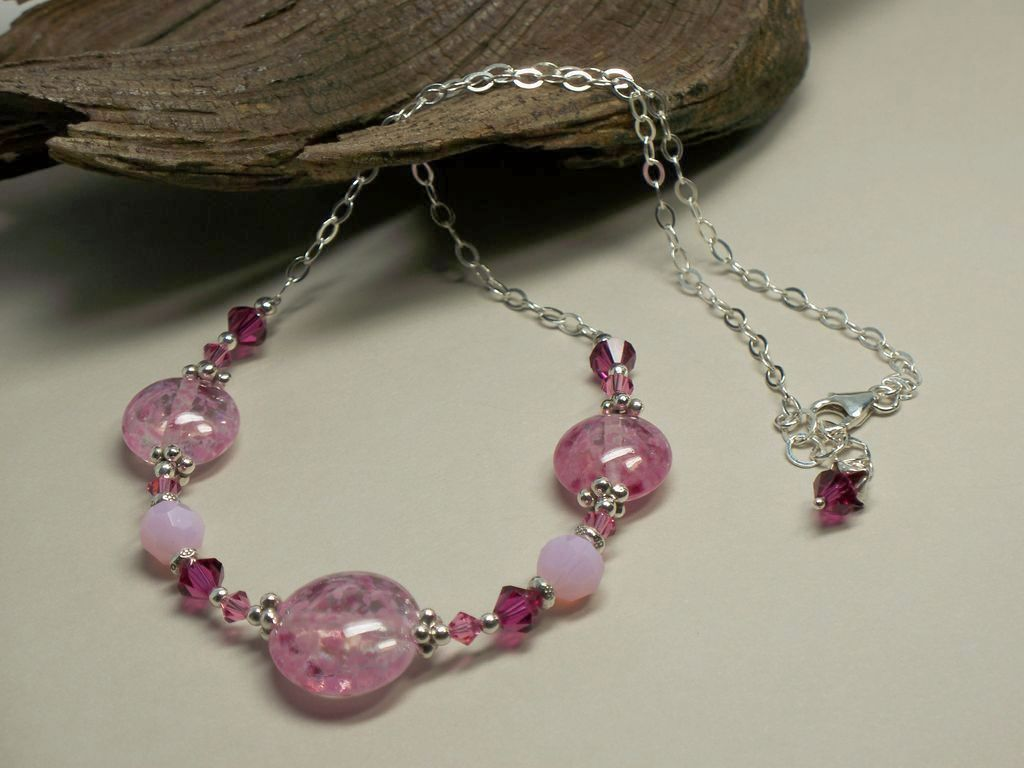 'Raspberry Sorbet' ~ Borosilicate Glass Lampwork, Swarovski Crystal, Sterling Silver Chain Necklace