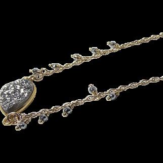 Silver Druzy (Drusy) Bezel Pendant, Pyrite 14Kt Gold Fill Chain Necklace