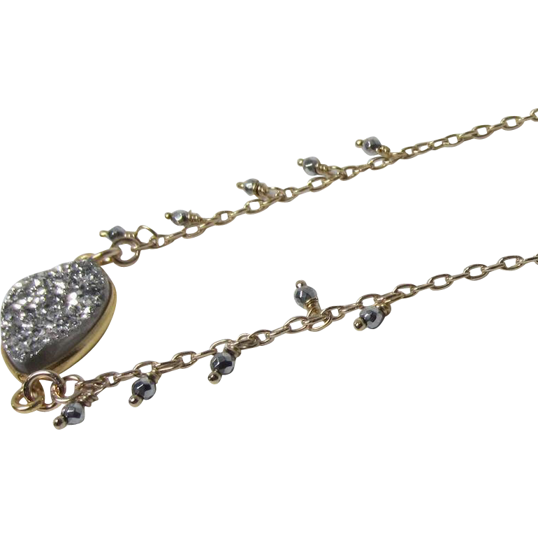 Silver Druzy (Drusy) Bezel Pendant, Pyrite 14Kt Gold Fill Chain Necklace