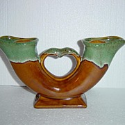 Van Briggle Pottery Double Horn Vase in Honey Gold and Green