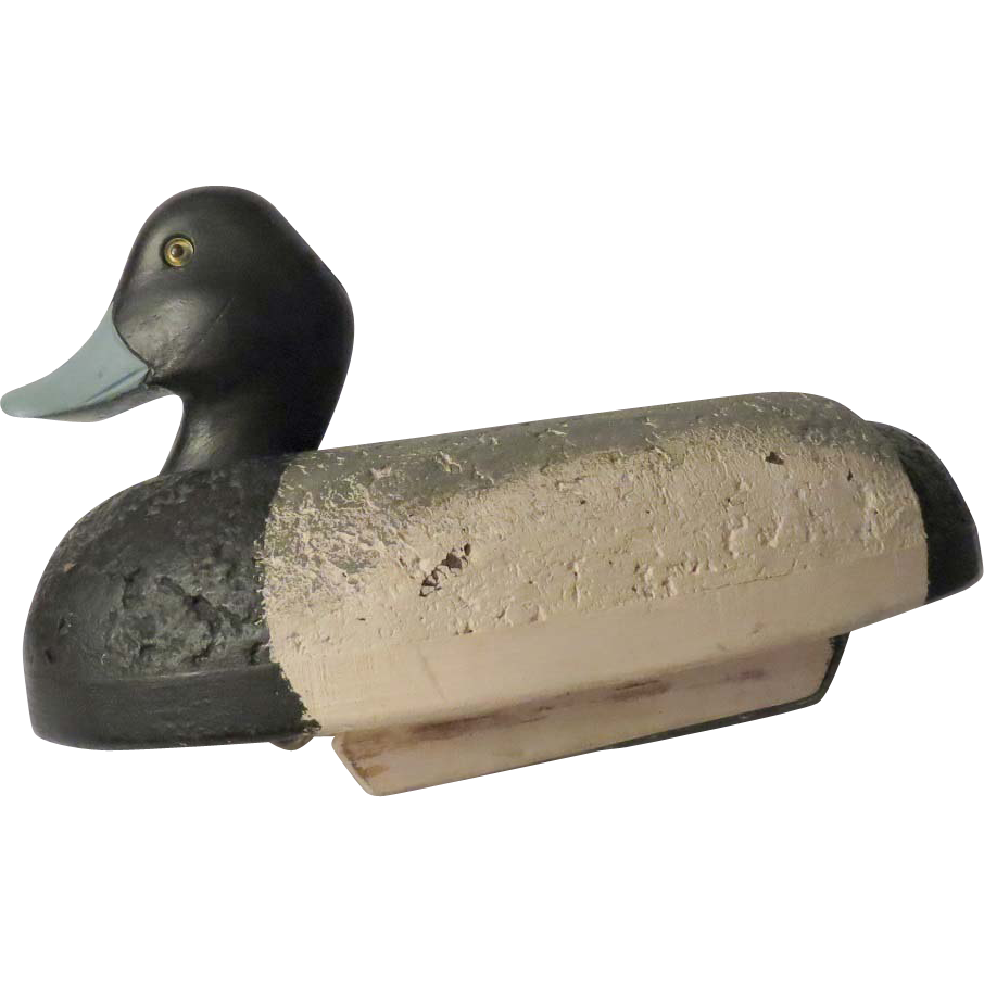 Blue Bill Cork Body Working Duck Decoy Signed LAB