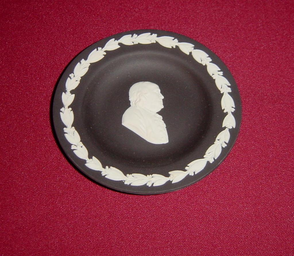 Wedgwood Black Jasperware Ben Franklin Pin Dish