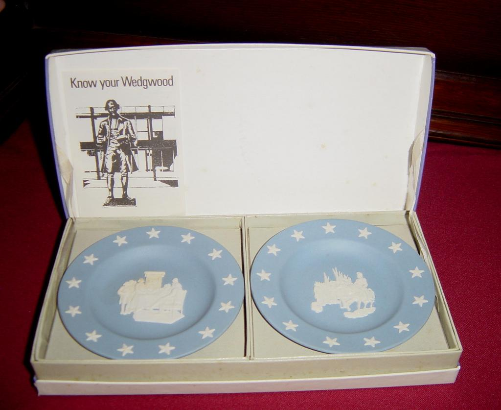 Wedgwood Blue Jasperware Pair of Compotiers or Pin Dishes
