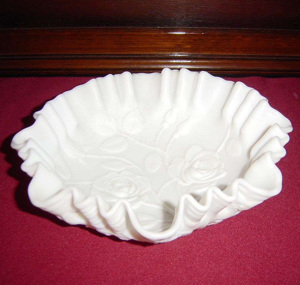 Imperial Satin Milk Glass Rose Bowl