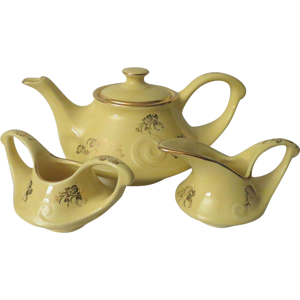 Pearl China Aladdin Gold Floral and Yellow Tea Set