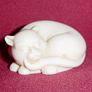 Netsuke Curio Cabinet Cat by Franklin Mint