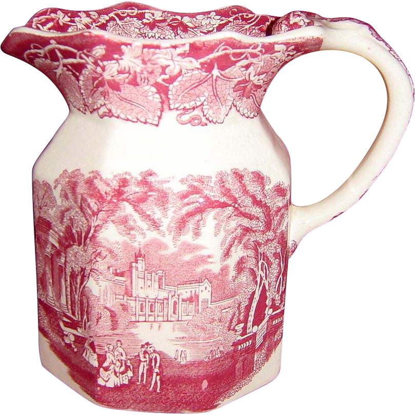 Mason's Pink or Red Vista Milk Pitcher