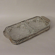 English Glass Relish Dishes on Silverplate Stand