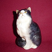 Royal Doulton Persian Cat Seated, Style I Black and White Cat